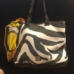 DOONEY & BURKE COW PRINT TOTE...SUEDE/LEATHER